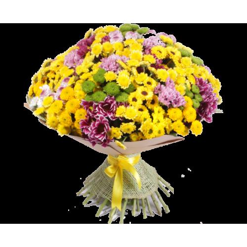 Купить на заказ Заказать Букет из 101 хризантемы с доставкой по Атырау с доставкой в Атырау