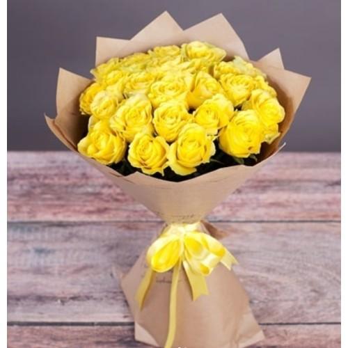 Купить на заказ Букет из желтых роз с доставкой в Атырау