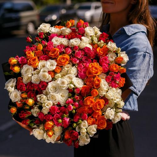 Купить на заказ Заказать Букет из 51 спрей  розы с доставкой по Атырау с доставкой в Атырау